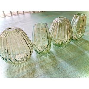 Luster Green Angular & Ribbed Set of 4 Glass Vases